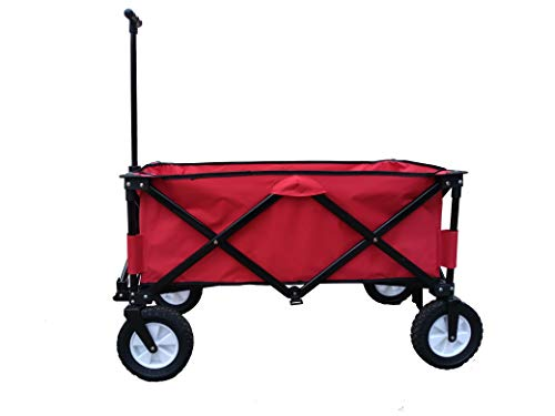 Bellahome Collapsible Folding Wagon Cart Utility Garden Beach Outdoor Sports Heavy Duty (Red) For Sale