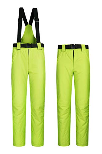 (Women's Snow Pants Outdoor Waterproof Windproof Ski Pants Warm Insulated Snowboard Pants Green Yellow US L)