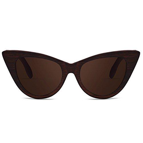 De Gafas para Sol Brown para Mujer De De Retro Exteriores De Marco Gafas Bambú Gafas De Sol Sol Fansport UV400 w1Cfqq