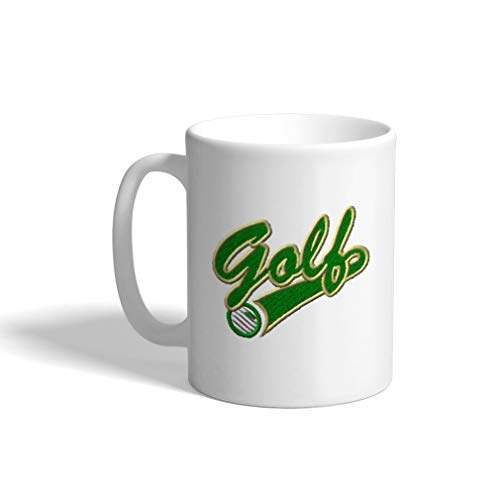 - Ceramic Funny Coffee Mug Coffee Cup Sport Golf Vintage Logo Green White Tea Cup 11 Ounces