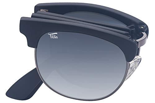 Foldies Black Folding Browline Sunglasses with Polarized Gray Gradient ()