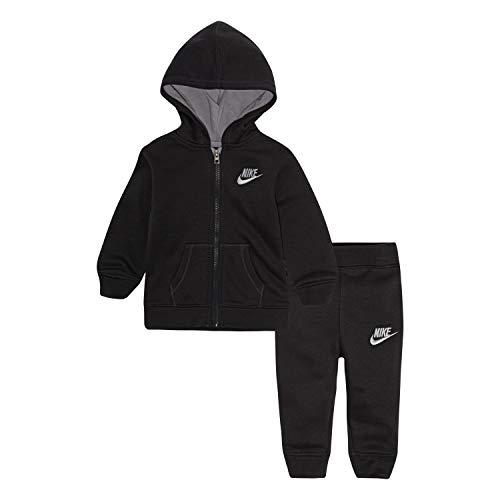 NIKE Children's Apparel Baby Boys' Toddler Hoodie and Joggers 2-Piece Outfit Set, Anthracite, 2T (Infant Boy Nike Clothing)