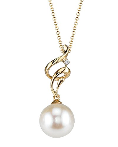(THE PEARL SOURCE 14K Gold 8.5-9mm AAA Quality Round White Akoya Cultured Pearl & Diamond Aria Pendant Necklace for Women)