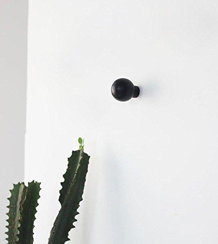 anaan Mushroom Diseño Perchero Pared Negro Colgador Abrigos Redondo Gancho Pared Madera Pasillo Moderno Decorativo nordico también para niños (1x ...