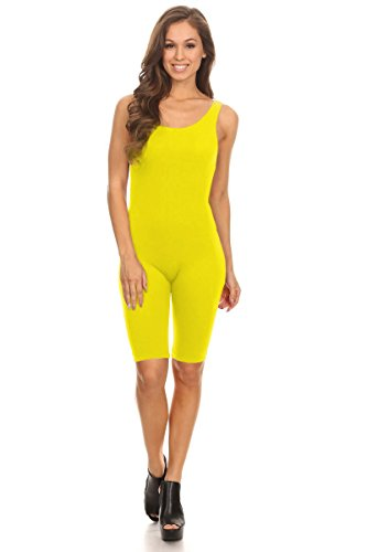 (Women Sleeveless Stretch Skinny Solid Knee Length Sport Unitard Bodysuits Active (2X-Large, Yellow))