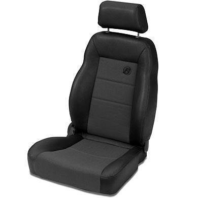 Bestop 39461-15 TrailMax II Pro Black Denim Front Vinyl with Fabric Insert High Back Driver-side Jeep Seat for 1976-2006 Jeep CJ and Wrangler ()