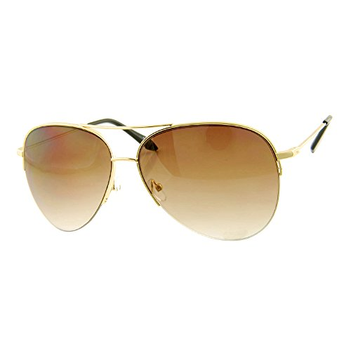 ROXX- Semi-Rimless Gold with Brown LensOversized Aviator Celebrity - Kardashian Style Kim Celebrity