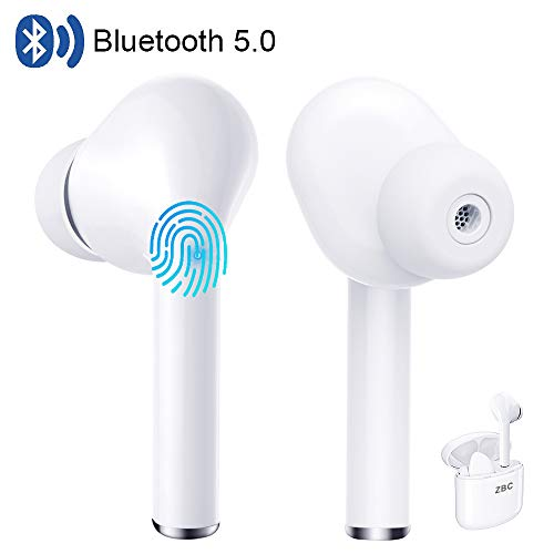 True Wireless Earbuds Bluetooth 5.0 Headphones Touch Control in-Ear Stereo Wireless Earphones with Charging Case Microphone Binaural Calls Noise Cancelling Deep Bass Waterproof Headset for Sport White