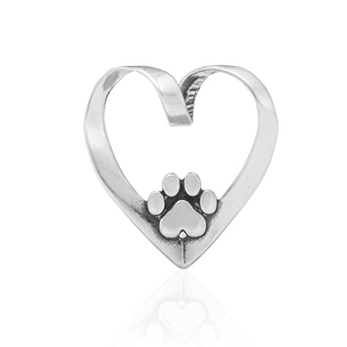 Sterling Silver Heart with Dog Paw Print Slider Pendant