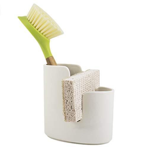 Scarlettwares Ceramic Sponge Holder Kitchen Caddy Holds One Sponge and Scrub Brush Kitchen Sink Organizer