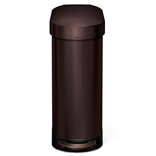 simplehuman Slim Step Trash Can with Liner Rim, Dark Bronze Stainless Steel, 45 L / 12 Gal