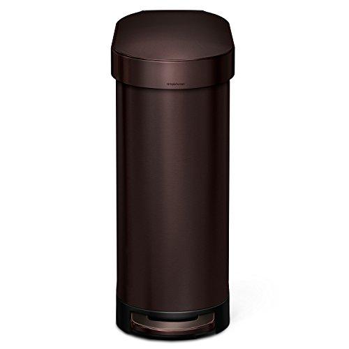 simplehuman Slim Step Trash Can with Liner Rim, Dark Bronze Stainless Steel, 45 L/12 Gal