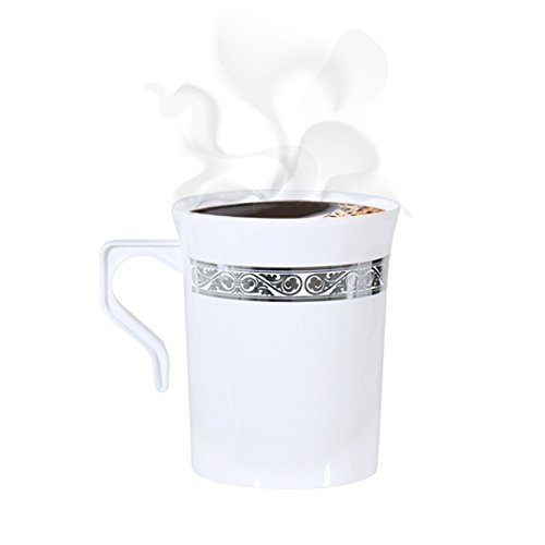 Party Bargains 1833 123 Disposable cups 6 Inch White & Silver