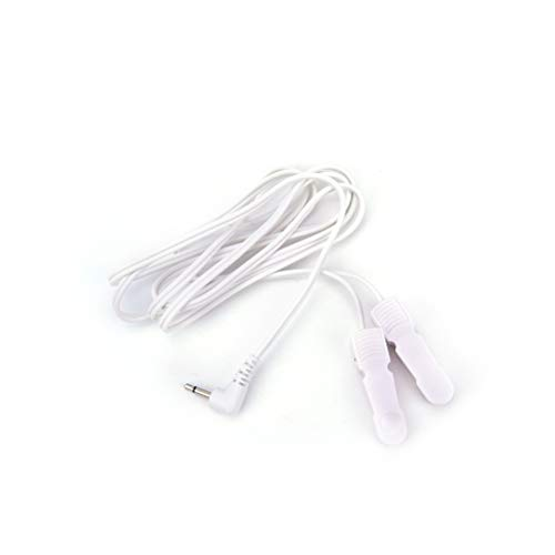 Ujuuu 2 Pack 2.5mm Plug Ear Clip Electrode Lead Wires, Electrode Wirs Ear Clamp for Tens Unit Cables Replacement (Ear Clips Tens)