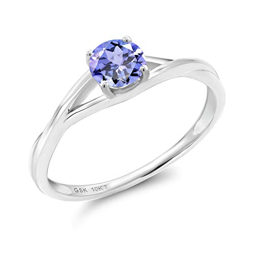 Gem Stone King 0.46 Ct Round Blue Tanzanite 10K White Gold Solitaire Engagement Ring (Size 9)