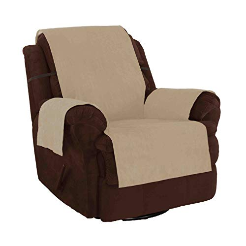 Link Shades Furniture Fresh - New and Improved Anti-Slip Grip Furniture Protector with Stay Put Straps and Water Resistant Microsuede Fabric (Recliner, Natural)