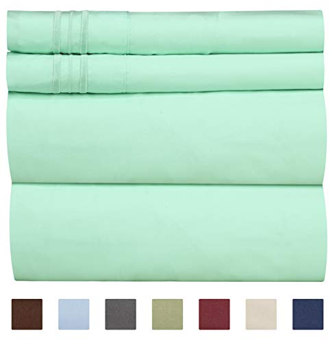 CGK Unlimited Twin Size Sheet Set - 4 Piece Set - Hotel Luxury Bed Sheets - Extra Soft - Deep Pockets - Easy Fit - Breathable & Cooling - Wrinkle Free - Comfy - Mint Green Bed Sheets - Twins Sheets