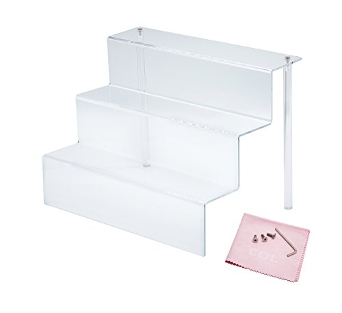 Combination of Life 3 Step Acrylic Riser Display Shelf for Amiibo Funko Pops Figures Clear 12 inches W by 8.5 inches D