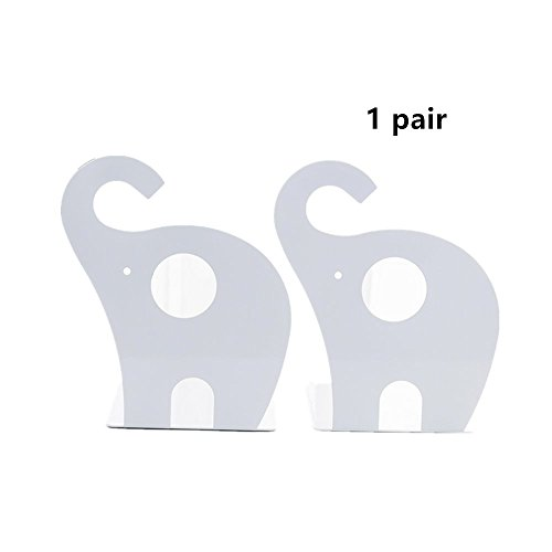 - Leoyoubei Vintage Bookends with Felt Pads to Protect Bookshelf Bookcase Non-Slip Heavy Steel Elephant 1 Pairs White