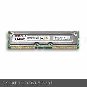 Dell 311-0796 equivalent 256MB DMS Certified Memory ECC 800MHz PC800 184 Pin RIMMs (RDRAM) - DMS (Pc800 Ecc Pin Rdram 184)