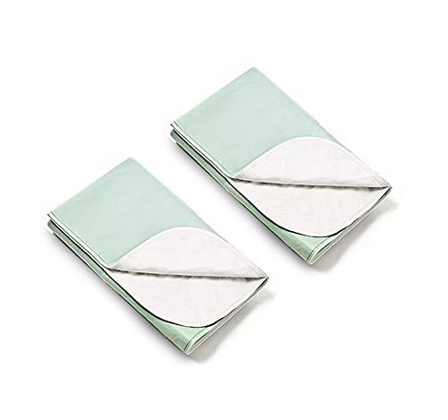 (Platinum Care PadsTM Washable Reusable Bed Pads for Incontinence - Size 54x35 - Pack of 2 (2 Green) )