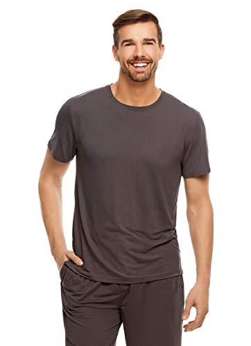 Haggar Men's Gray Crew Neck T-Shirt | Sleep Top With Wicking Properties XXL - Grandad Neck T-shirt