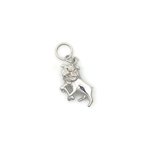 14Kt White Gold Bulldog Charm, 14Kt Bulldog Charm, 14K White Gold Bulldog Pendant, Donna Pizarro, Animal Whimsey Collection by Donna Pizarro Designs