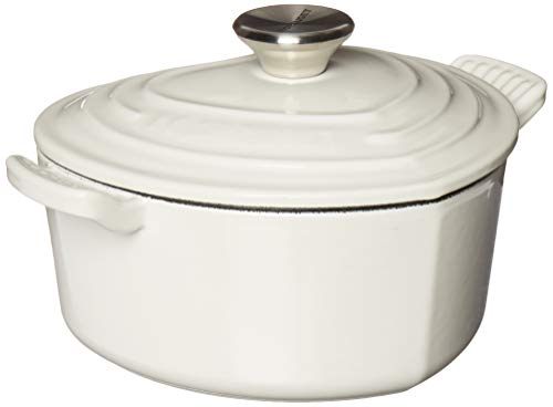 Le Creuset L25C1-0216S Signature Cast Iron Heart Shaped Dutch Oven With Stainless Steel Knob, 2.25 quart, White ()