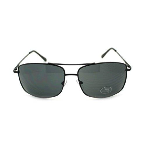 Mens Metal Rim Narrow Rectangular Double Bridge Aviator Sunglasses - Narrow Sunglasses Bridge