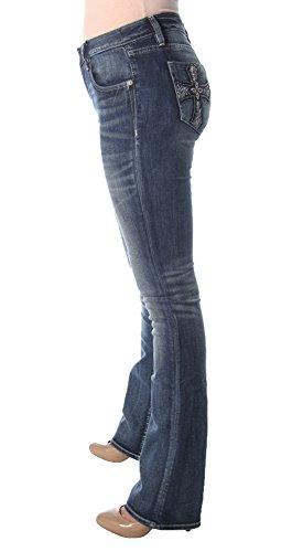 Miss Me Women's Embellished Cross Pocket Boot Cut Denim Jean, Medium Blue, 28 by Miss Me (Image #2)