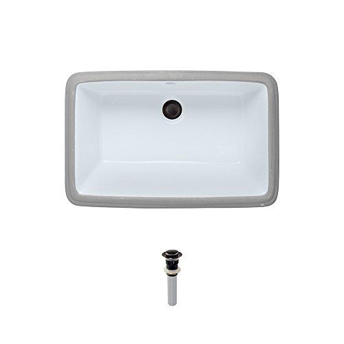 (U1812-White Undermount Porcelain Bathroom Sink Ensemble, Antique Bronze Pop-Up Drain)