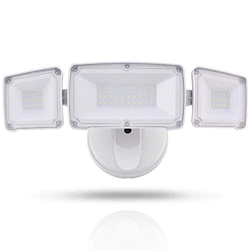 GLORIOUS-LITE Dusk to Dawn Security Light with 3500LM, 35W Flood Lights Outdoor, IP65 Waterproof & ETL Listed, 5500K White Light, Adjustable 3 Heads Wall Exterior Light for Garage, Backyard,Patio