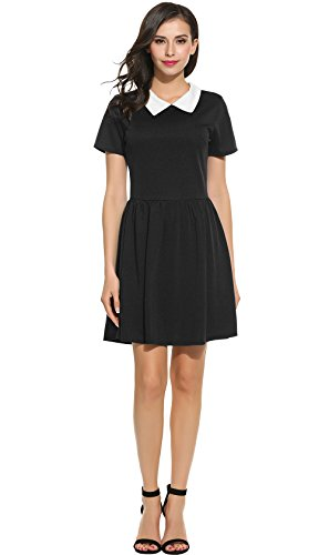 [POGT Women's Black Petite Dress peter pan collar dresses women juniors girls (S, Black)] (The Addams Family Wednesday Costumes)