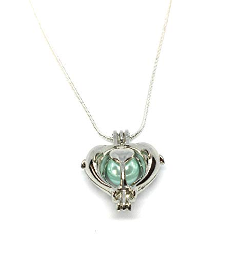 Caged Glass - Dolphin Heart Caged Pendant With Blue Glass Pearl Gift For Her Sterling Silver Plated Chain