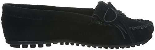 Moccasin Suede Kilty Minnetonka Black Women's q4ZnRt