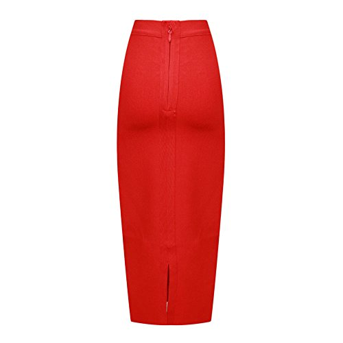 HLBandage Elastic High Waist Rayon Midi Bandage Skirt Rojo