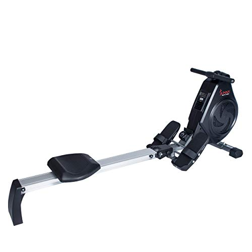 Sunny Health & Fitness Air Magnetic Rowing Machine Rower, LCD Monitor with Tablet Holder and Aluminum Slide Rail – SF-RW5730