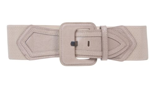 Ladies High Waist Fashion Stretch Belt with Tab Detailing Color: Beige Size: M/M - 30~34