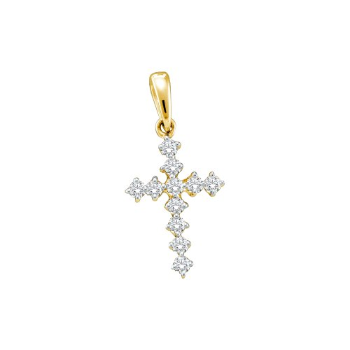 0.09 cttw. Diamond Ladies Cross Pendant 14K Yellow (Small Diamond Cross)