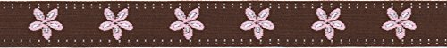 Offray Jacquard Daisy Craft Ribbon, 5/8-Inch x 9-Feet, Brown & Pink( Discontinued by Manufacturer )