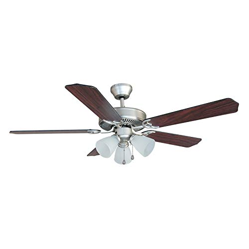 Hardware House 17-5890 Palladium Satin Nickel 52-Inch Triple Mount Ceiling Fan Light, Black or Cherry Blades