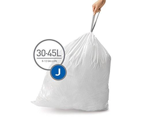 simplehuman Code J Custom Fit Drawstring Trash Bags, 30-45 Liter/8-12 Gallon, 12 Refill Packs (240 Count) (Bags Trash Custom)