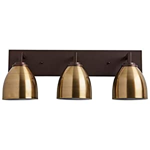 """Stone & Beam Contemporary 3-Light Vanity Fixture, 9.3""""H, With Bulbs, Oil Rubbed Bronze"""