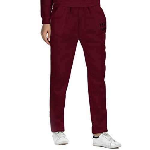 jogging pantaloni Donna Pantaloni inverno Autunno Rosso dritti tempo e Scuro sportivi pantaloni Pantaloni Fulision libero qTCP5qnw