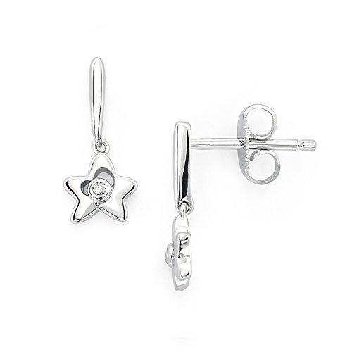 Little Diva Diamonds 925 Sterling Silver Diamond Accent Star Dangle Earrings for Girls