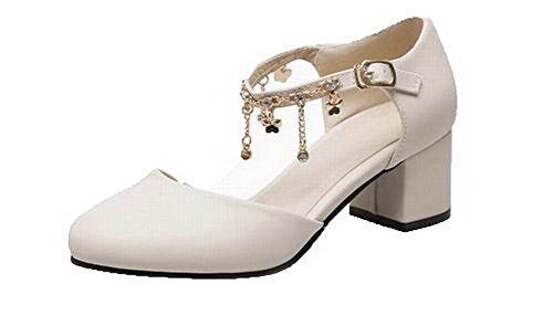 Heels VogueZone009 Pu Toe Beige Round CCALP014467 High Buckle Women Solid Sandals qCXrXwIF