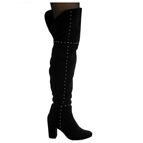 Block cm Shoes Angkorly Fashion High Black Cavalier Soft Thigh Heel Boot Women's Biker 8 Studded wCAqzS