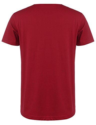 COOFANDY Men\'s Slim Fit Hippie Shirt Short Sleeve Casual Zip Up Cotton Linen Beach Wedding Henley T Shirt Red