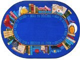 Joy Carpets Kid Essentials Language & Literacy Oval Read to Succeed Rug, Multicolored, 7'8