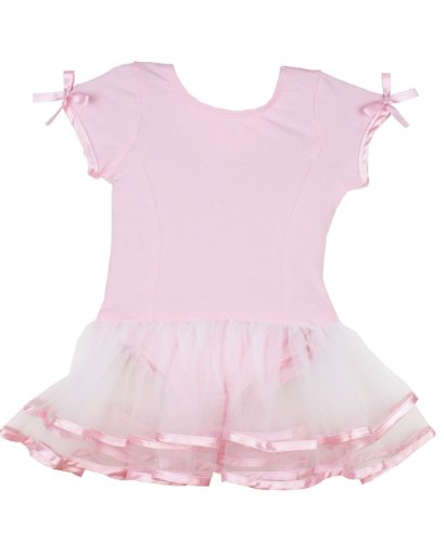 RuffleButts Little Girls Short Sleeve Pink and White Tutu Leotard - 12-24m